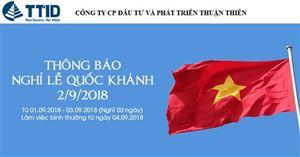 Thông báo nghỉ lễ Quốc Khánh 2/9/2018 tại TTID